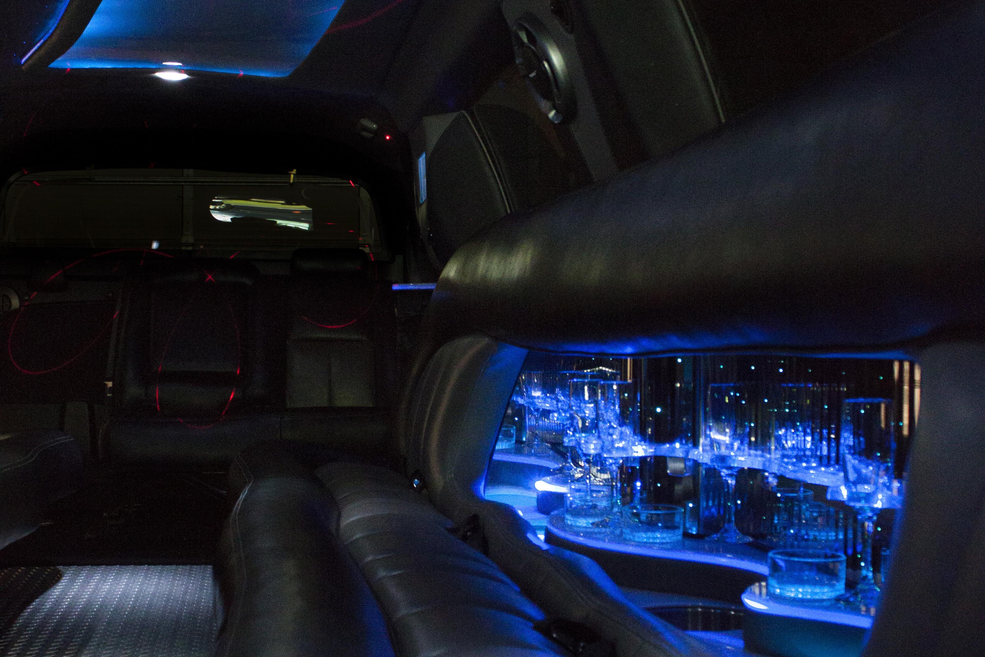 interior of escalade limousine